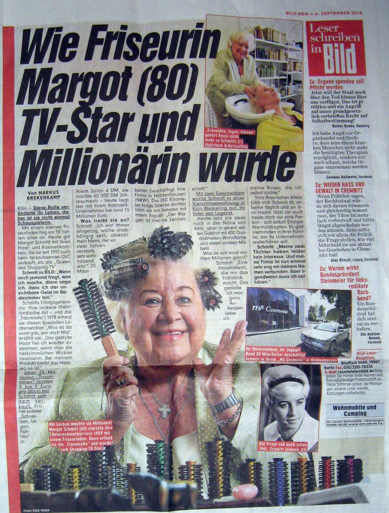 Veröffentlichung in der Bild Zeitung - Pressearbeit von PRTB für Margot Schmitt