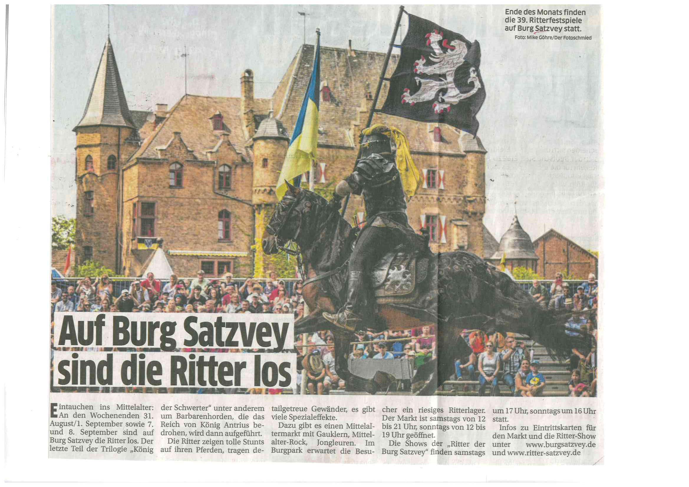 Pressearbeit für Burg Satzvey Ritterspiele von PRTB Köln