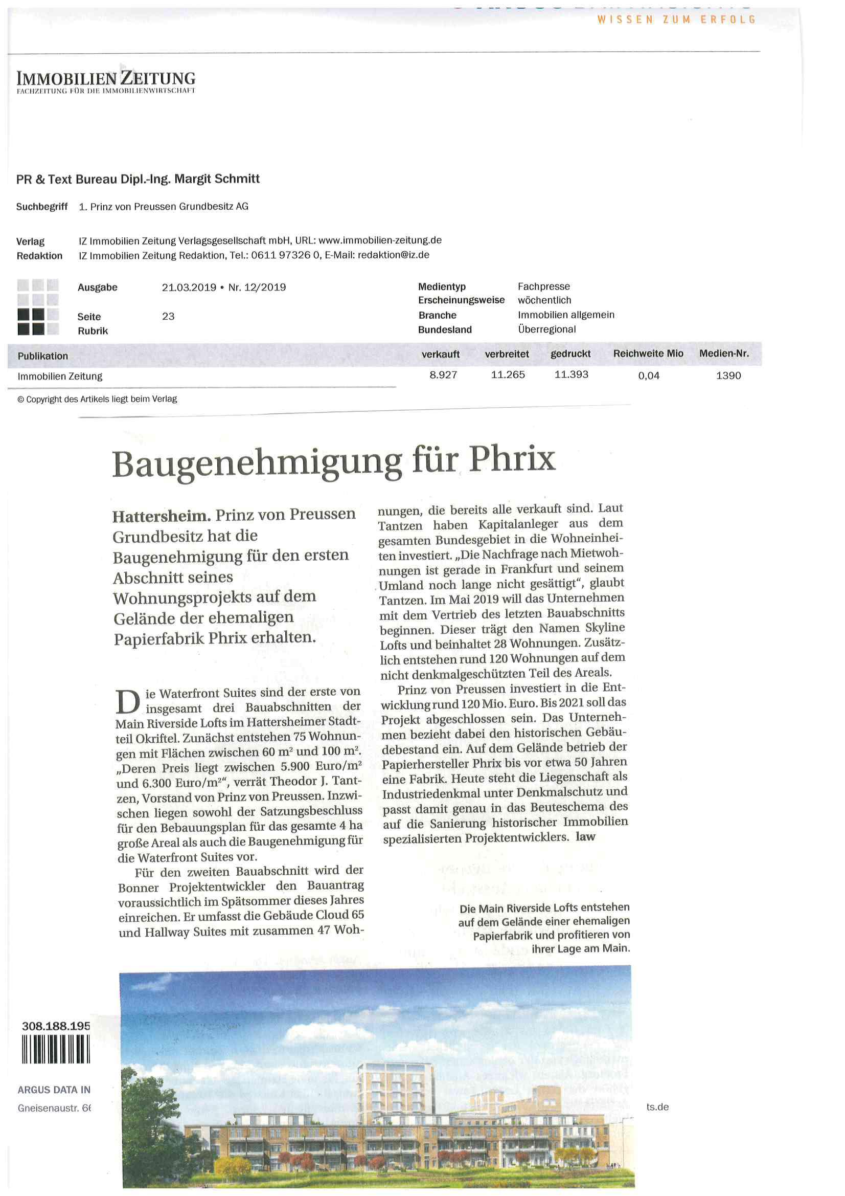 Pressearbeit von PRTB für Prinz von Preussen Grundbesitz AG