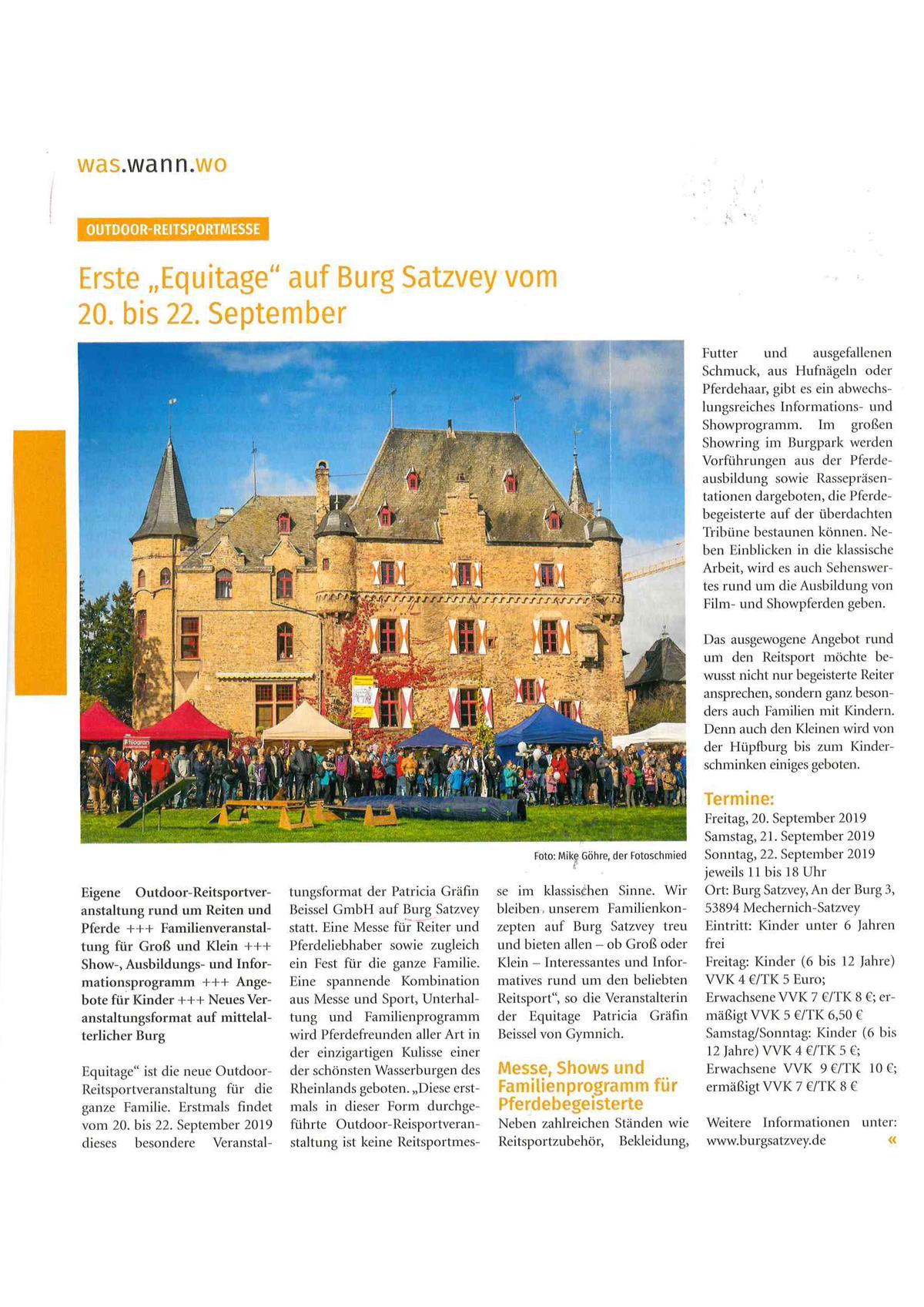 """Veröffentlichung in Fachmagazin """"Rheinlands Reiter und Pferde"""" für Burg Satzvey - PRTB"""